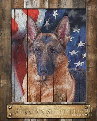 Digital Art - German Shepherd Flag Poster by Tim Wemple