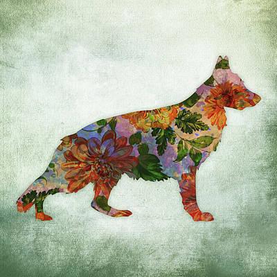 Watercolor Pet Portraits Digital Art - German Shepherd Floral On Green by Flo Karp