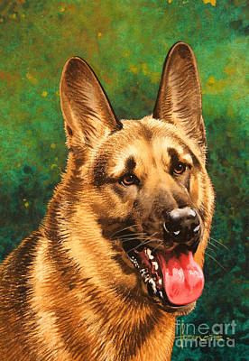 German Shepherd Art Print by John Francis