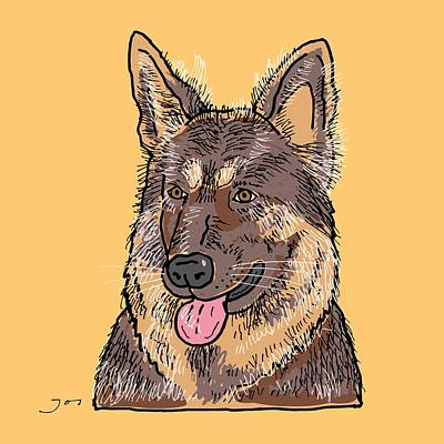 Bright Colours Drawing - German Shepherd by Pets Portraits