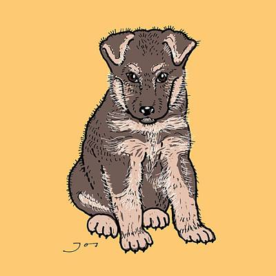 Bright Colours Drawing - German Shepherd Puppy by Pets Portraits