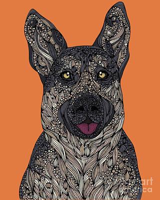 German Shepherd Wall Art - Digital Art - German Shepherd by Valentina