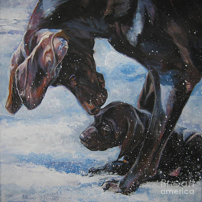 Painting - German Shorthaired Pointer And Puppy by Lee Ann Shepard