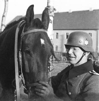 Ww2 Photograph - German Soldier With His Horse by Charles Meagher