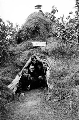 Ww2 Photograph - German Soldiers In Haystack Tent In Russia by Charles Meagher