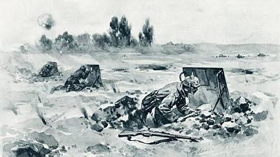 Trench Drawing - German Soldiers Using Trench Shields To by Vintage Design Pics