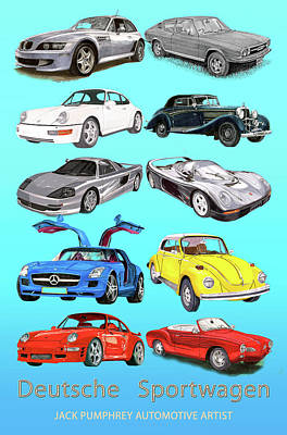Painting - German Sports Cars by Jack Pumphrey