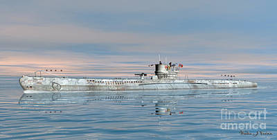 Digital Art - German Submarine U-99 by Walter Colvin