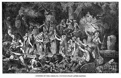 Drawing - German Tribal Feast, C1894. by Granger