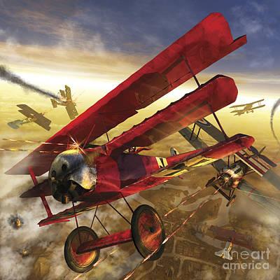 German Triple Wing Bi-plane The Red Art Print by Kurt Miller