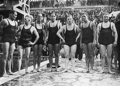 Polo Photograph - German Water Polo Team by Underwood Archives