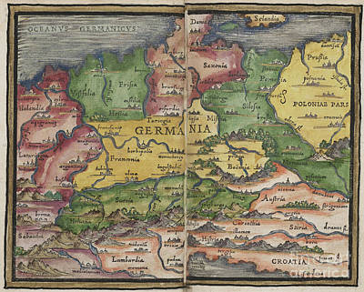 Photograph - Germania Germany Map By Johannes Honter 1542 by Rick Bures