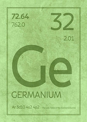 Periodic Table Wall Art - Mixed Media - Germanium Element Symbol Periodic Table Series 032 by Design Turnpike