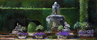 Fountain Wall Art - Painting - Germany Baden-baden 15 by Yuriy Shevchuk