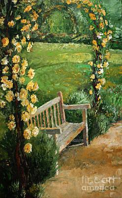 Oil Landscape Painting - Germany Baden-baden Rosengarten  by Yuriy  Shevchuk
