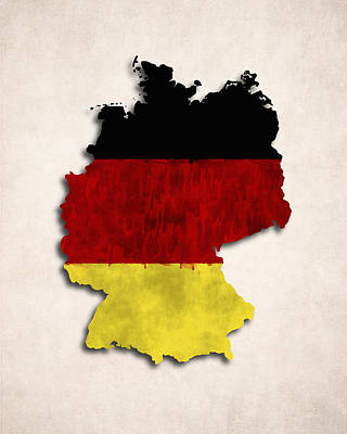 Germany Map Art With Flag Design Art Print by World Art Prints And Designs