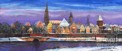 Panorama Wall Art - Painting - Germany Ulm Panorama Winter by Yuriy Shevchuk