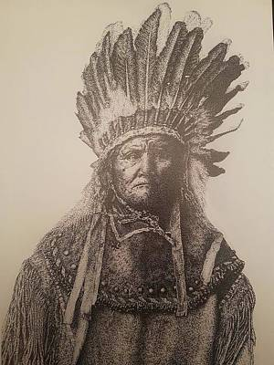 Apache Drawing - Geronimo Native American by Phoebe Scott