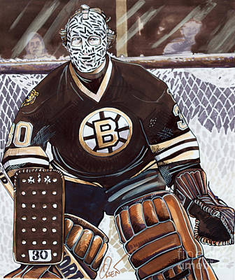 Hockey Drawing - Gerry Cheevers by Dave Olsen