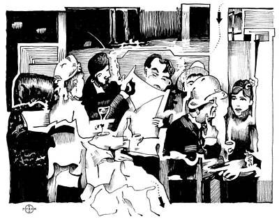 Gary Peterson Drawing - Gervex Paris Cafe by Gary Peterson