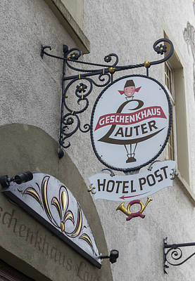 Landscape Photograph - Geschenkhaus Lauter Hotel Post Sign by Teresa Mucha