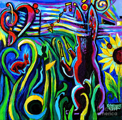 Painting - Rabbit Conducting A Mid-summer Nights Symphony by Genevieve Esson