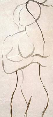 Mixed Media - Gestural Nude Sketch by Angela Murray