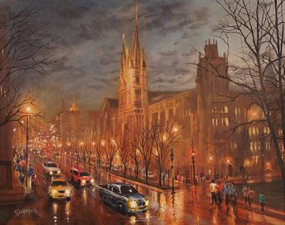 Marquette Wall Art - Painting - Gesu Church And Marquette Hall by Tom Shropshire