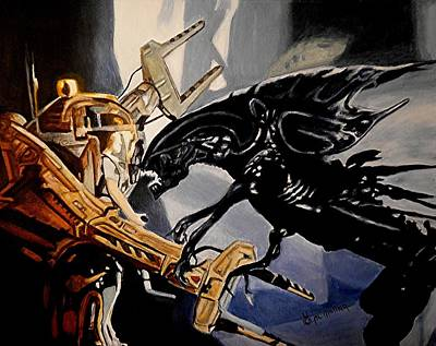 Xenomorph Painting - Get Away From Her You Bitch by Al  Molina