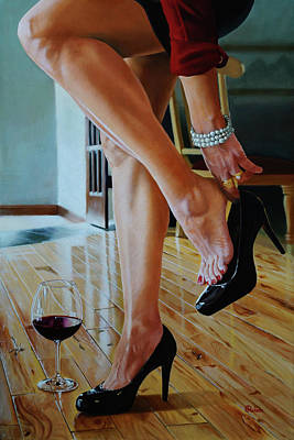 Wine Reflection Art Painting - Get Me Out Of These Shoes by Eric Renner