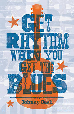 Nashville Digital Art - Get Rhythm - Johnny Cash Lyric Poster by Jim Zahniser