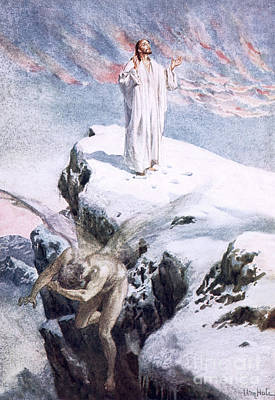 Snow Scenes Drawing - Get Thee Hence, Satan by William Brassey Hole