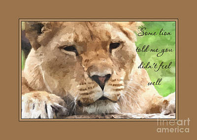 Digital Art - Get Well Painted Lioness by JH Designs