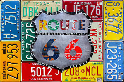 Kick Mixed Media - Get Your Kicks On Route 66 Recycled Vintage State License Plate Art By Design Turnpike by Design Turnpike