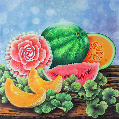 Watermelon Drawing - Get Your Melons Here by Teresa Frazier