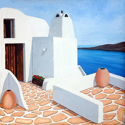 Rooftop Painting - Santorini Getaway, Original Oil Painting Available And Prints by Mary Grden Fine Art Oil Painter Baywood Gallery