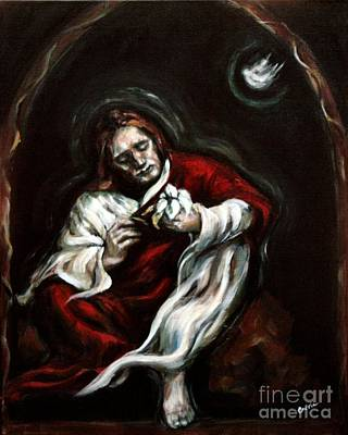 Sacred Art Painting - Gethsemane by Carrie Joy Byrnes