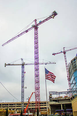Tower Crane Photograph - Getter Done Tower Crane Construction Art by Reid Callaway