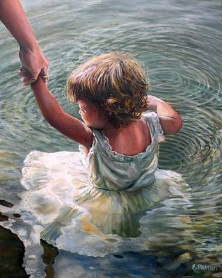 Painting - Getting Her Feet Wet, Too by Eileen Patten Oliver