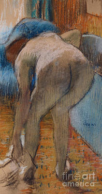 Pastel - Getting Out Of The Bath  Woman Drying Herself by Edgar Degas