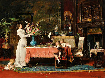 Hungarian Painting - Getting Ready For Daddy's Birthday by Mihaly Munkacsy