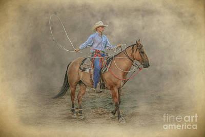 Digital Art - Getting Ready Rodeo Calf Roping by Randy Steele
