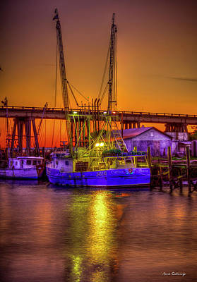 Getting Ready Tybee Island Shrimp Boat Catina Renea Savannah Ga Print by Reid Callaway