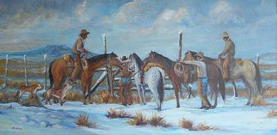 Lynn Burton Wall Art - Painting - Getting The Gate by Lynn Burton
