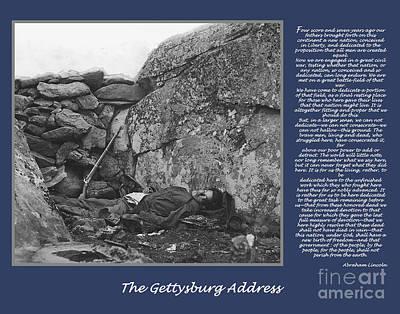 Gettysburg Address Civil War Devils Den Art Print by Randy Steele