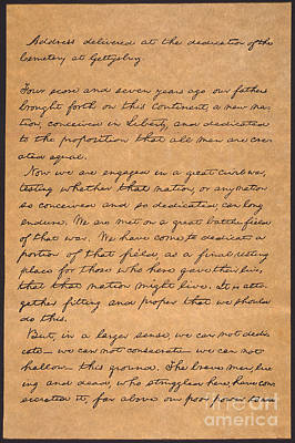 Lincoln Photograph - Gettysburg Address by Granger