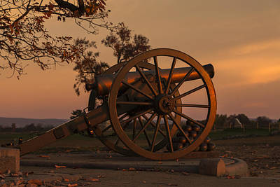 Photograph - Gettysburg - Cannon With Cannon Balls At Sunrise by Liza Eckardt