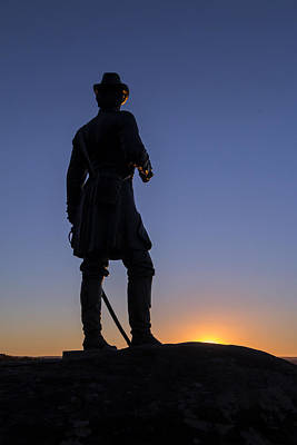 Photograph - Gettysburg - Gen. Warren At Sunset by Liza Eckardt