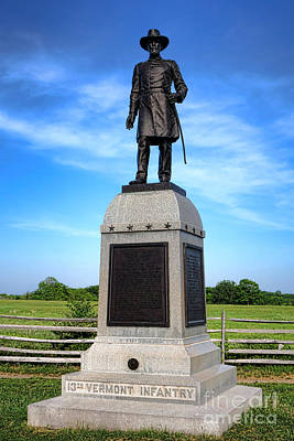 Gettysburg National Park 13th Vermont Infantry Memorial Art Print by Olivier Le Queinec