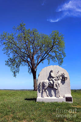 Gettysburg National Park 17th Pennsylvania Cavalry Memorial Art Print by Olivier Le Queinec